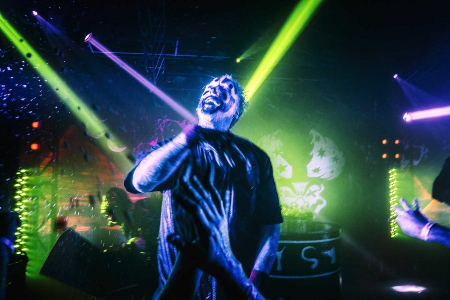 Insane Clown Posse frontman Joseph Bruce, also known as Violent J, performs for a crowd of ecstatic Juggalos and concertgoers at the Blue Moose on Saturday, Sept. 23, 2017. ICP is known for their unique live performances which spray hundreds of bottles of a soda called Faygo into the crowd. (James Year/The Daily Iowan)