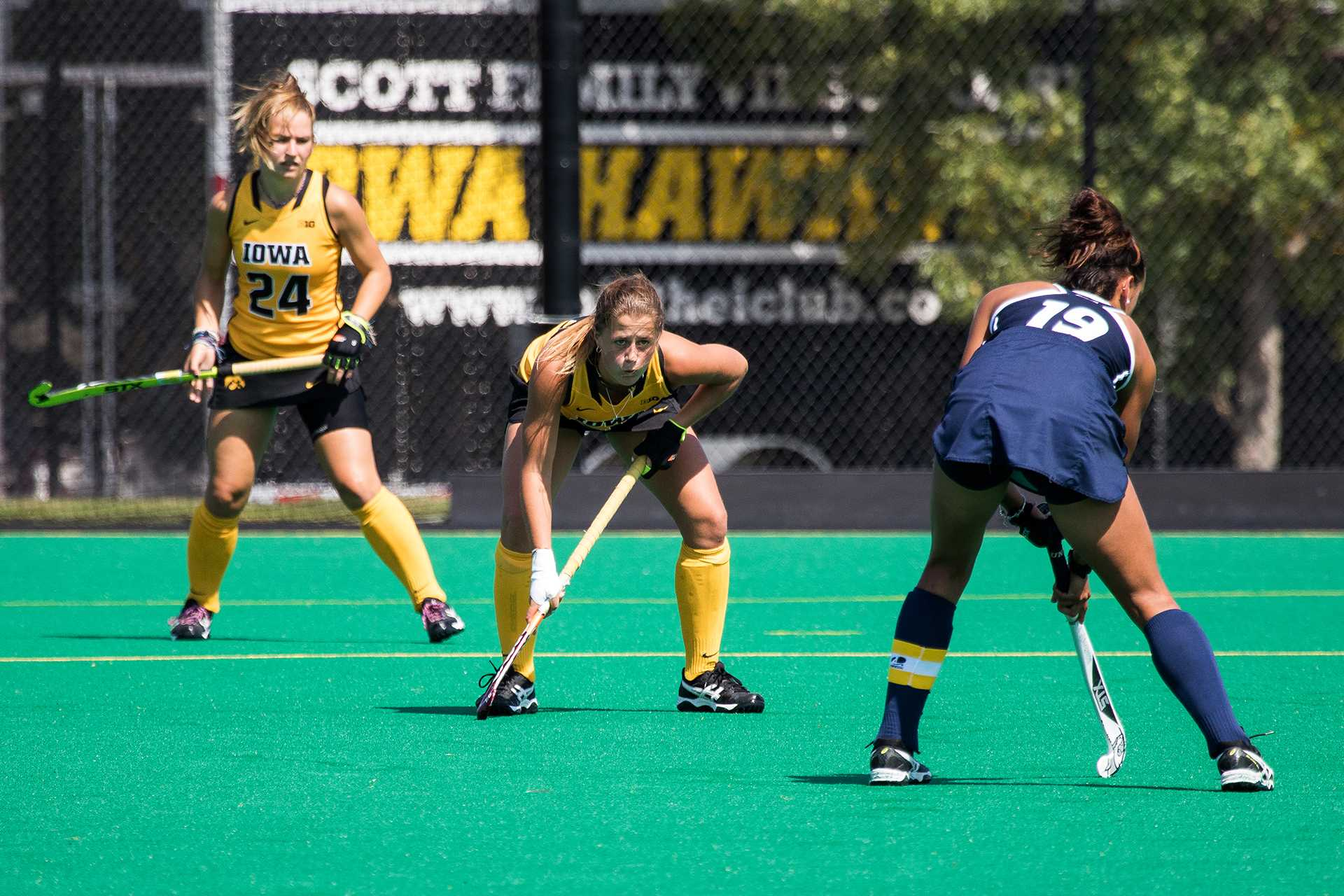 Iowa field hockey players face off against the University of New Hampshire on Sunday, 10 September, 2017. Iowa defeated UNH by a final score of 7-1. (David Harmantas/The Daily Iowan)