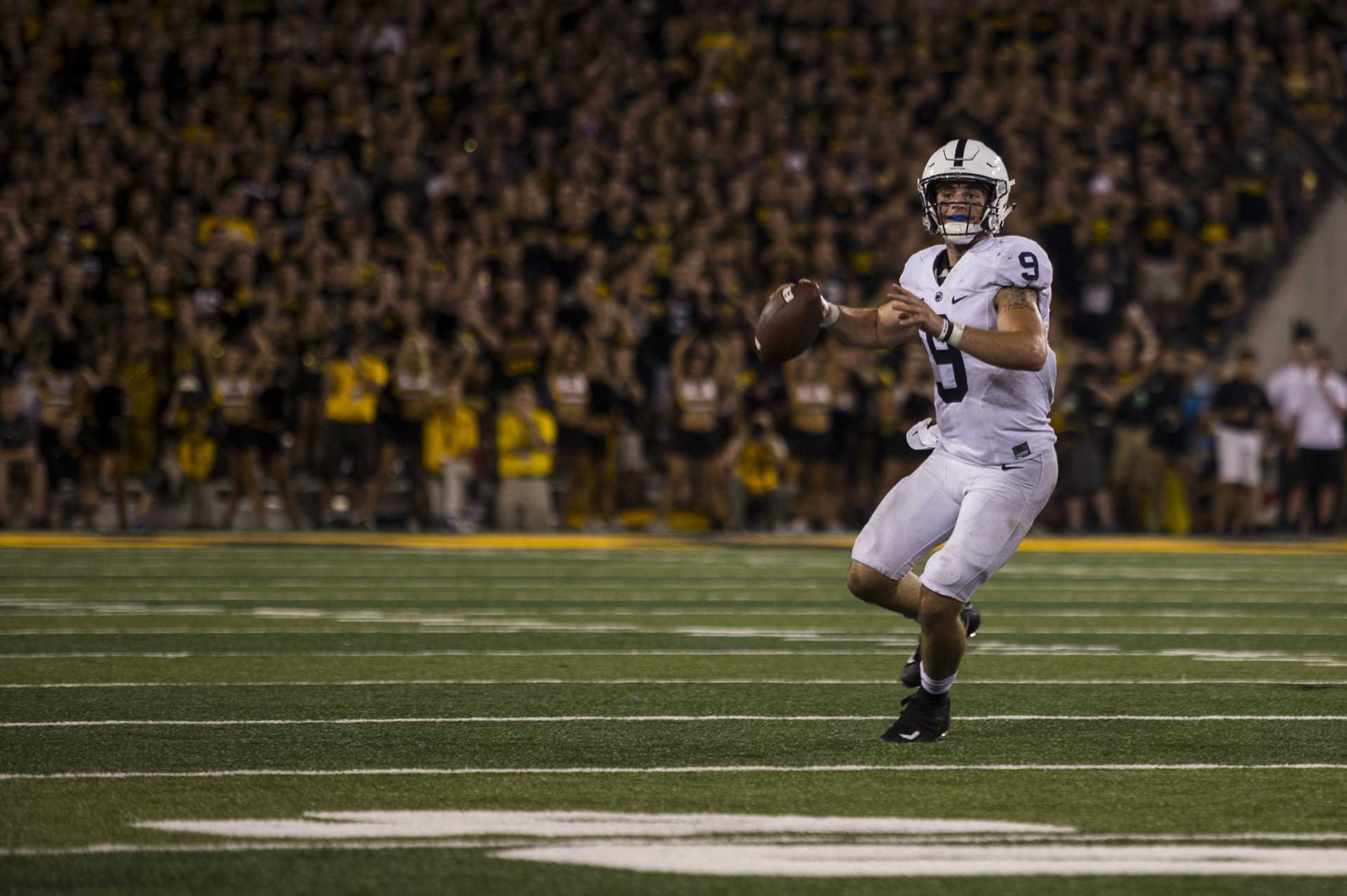 Penn State quarterback Trace McSorley throws during the 4th quarter of Iowa's game against Penn State at Kinnick Stadium on Sept. 23, 2017. Penn State defeated Iowa 21-19 on a last second touchdown past. (Nick Rohlman/The Daily Iowan)