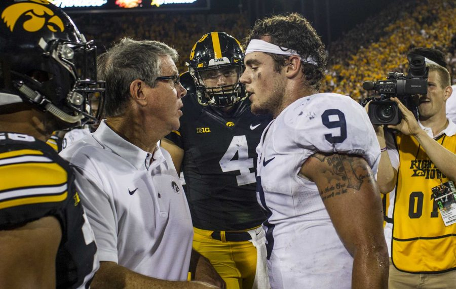 Iowa+quarterbacks+coach+Ken+O%27Keefe+exchanges+words+with+Penn+State+quarterback+Trace+McSorley+after+McSorley+punted+the+ball+in+celebration+after+Iowa%27s+game+against+Penn+State+at+Kinnick+Stadium+on+Sept.+23%2C+2017.+Penn+State+defeated+Iowa+21-19+on+a+last+second+touchdown+pass.