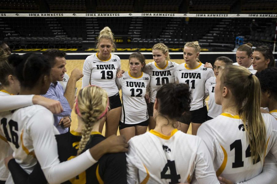 Iowa+head+coach+Bond+Shymansky+speaks+to+the+team+after+the+match+between+Iowa+and+Northern+Illinois+inside+Carver-Hawkeye+Arena+on+Friday%2C+Sept.+8%2C+2017.+The+Hawkeyes+went+on+to+defeat+the+Huskies+3-0.+%28Ben+Smith%2FThe+Daily+Iowan%29