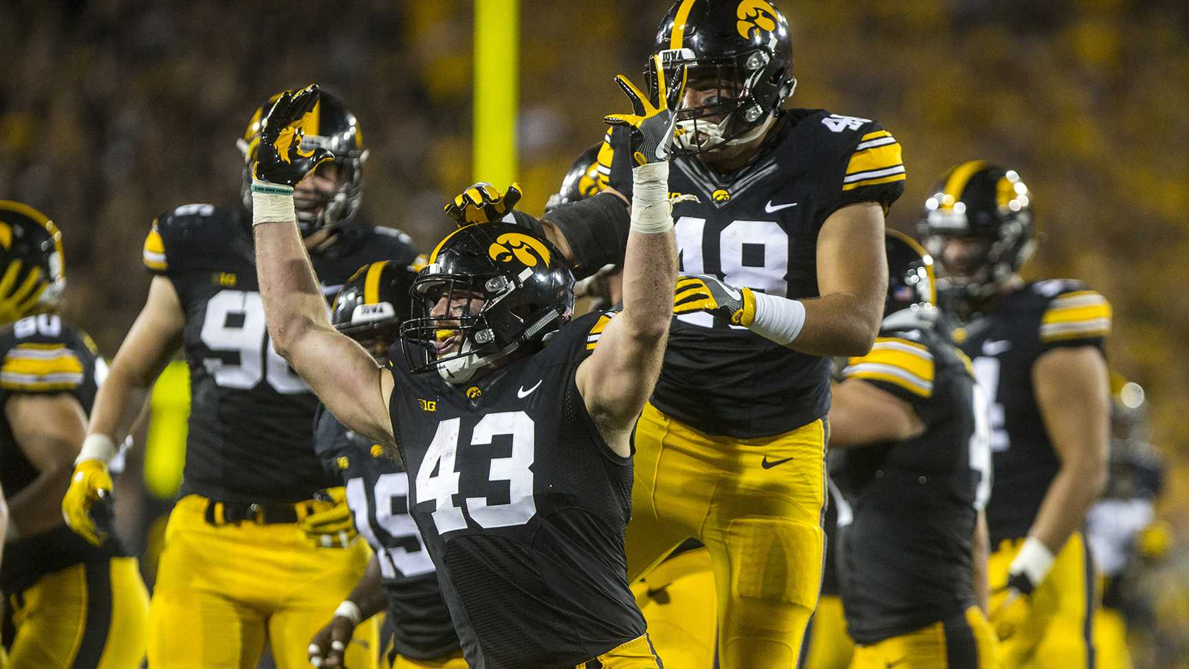 Iowa line backer Josey Jewell celebrates an interception during the game between Iowa and Penn State at Kinnick Stadium on Saturday, Sept. 23, 2017. Both teams are going into the game undefeated with records of 3-0. The Nittany Lions defeated the Hawkeyes 21-19. (Ben Smith/The Daily Iowan)