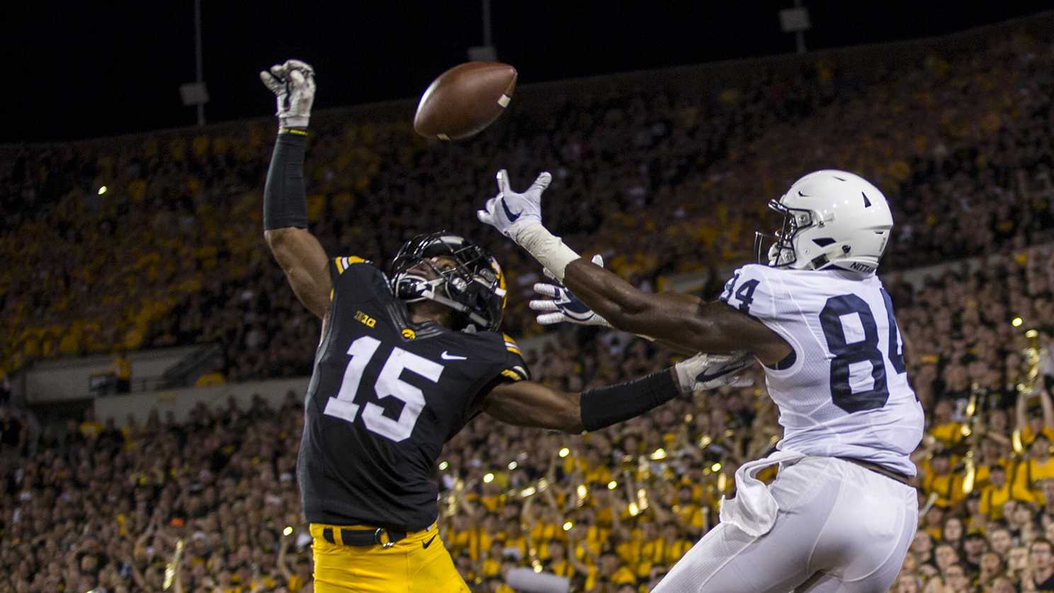 Iowa defensive back Josh Jackson breaks up a pass attempt in the end zone during Iowa's game against Penn State at Kinnick Stadium on Sept. 23, 2017. Penn State defeated Iowa 21-19 on a last second touchdown pass. (Nick Rohlman/The Daily Iowan)