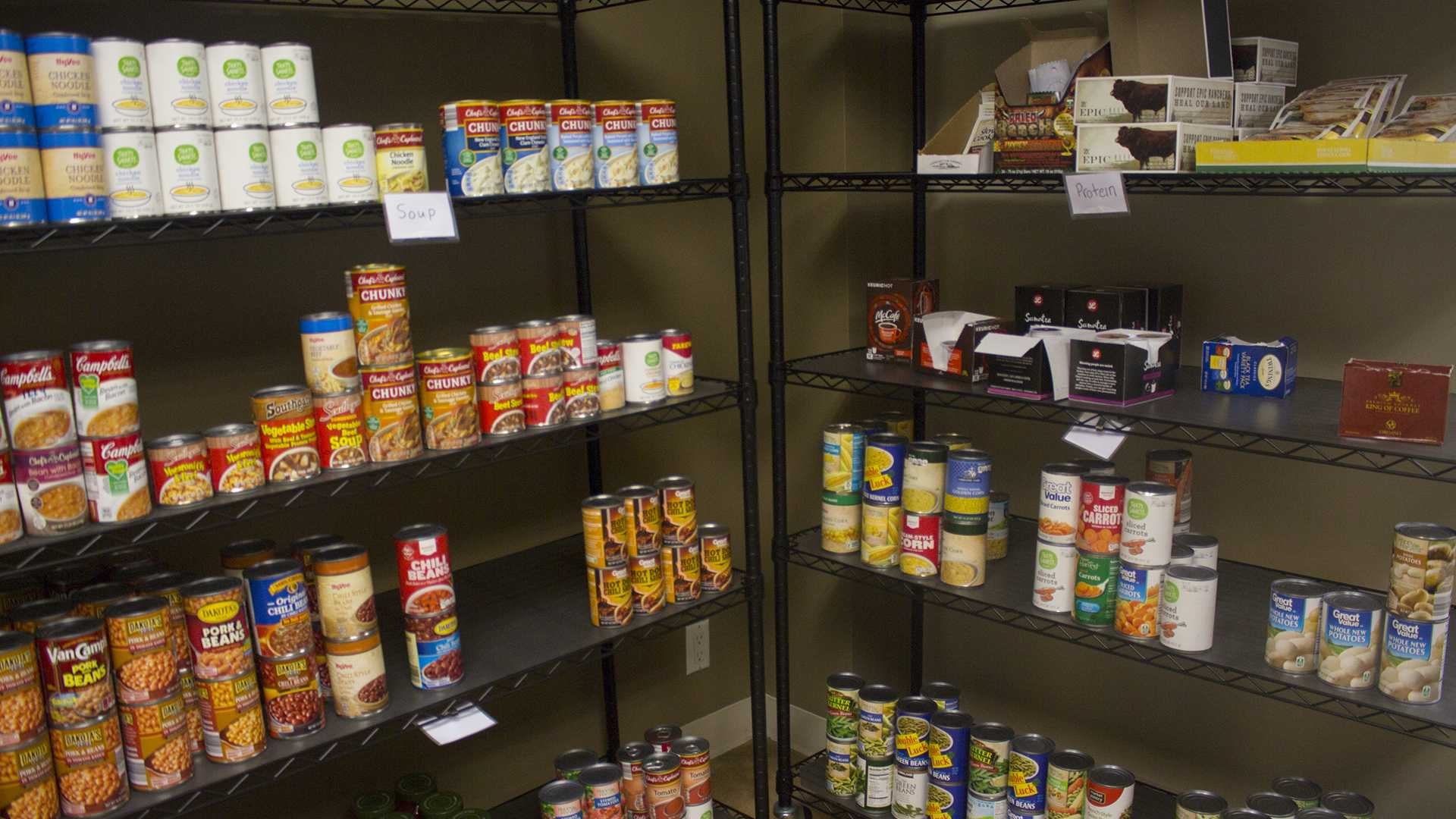 Food is shown in the Food Pantry in the IMU on Monday, Sep. 4, 2017. The Food Pantry is located in Room 209 in the IMU. (Lily Smith/The Daily Iowan)