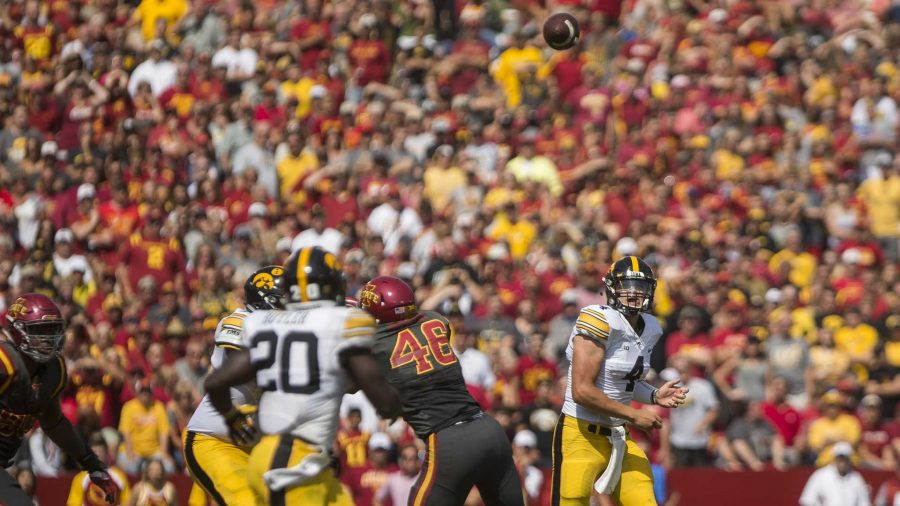 Iowa+quarterback+Nathan+Stanley+throws+a+pass+to+James+Butler+during+the+game+at+Jack+Trice+Stadium+on+Saturday%2C+Sept.+9%2C+2017.++%28Ben+Smith%2FThe+Daily+Iowan%29