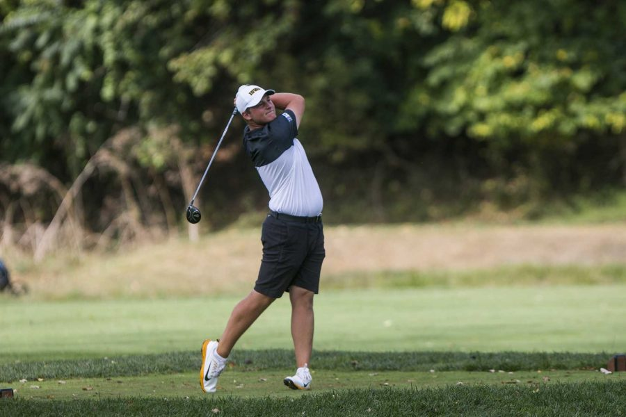 Iowas Alex Schaake drives during a tournament at the Donald Ross Course at the Cedar Rapids Country Club in Cedar Rapids on Tuesday, Sept. 19, 2017. (Joseph Cress/The Daily Iowan)