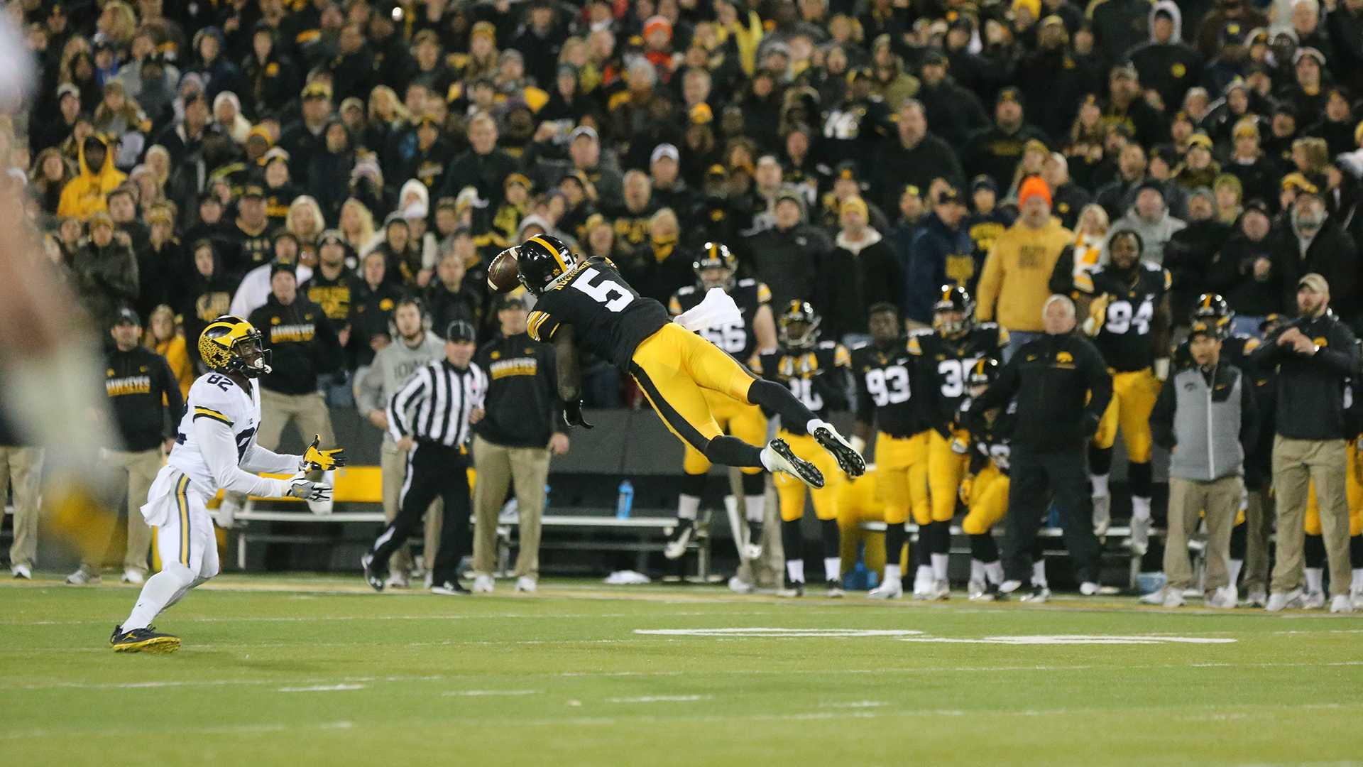 Iowa defensive back Manny Rugamba deflects a pass during the game between Michigan and Iowa at Kinnick Stadium on Saturday, November 12, 2016. Iowa kicker Keith Duncan nailed a 33 yard field goal as the time ran out to beat the No. 2 Wolverines 14-13. (The Daily Iowan/ Alex Kroeze)