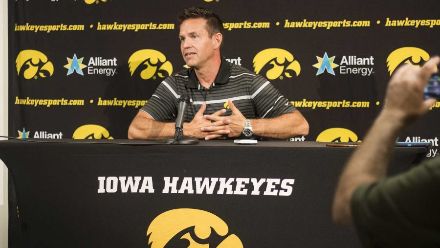 Iowa+head+coach+Bond+Shymansky+speaks+with+members+of+the+media+during+volleyball+media+day+in+Carver-Hawkeye+Arena+on+Friday%2C+Aug.+18%2C+2017.++The+volleyball+team+will+host+their+Black+%26+Gold+scrimmage+tomorrow+at+2+p.m.+in+Carver%2C+which+will+be+free+to+the+public.+%28Joseph+Cress%2FThe+Daily+Iowan%29