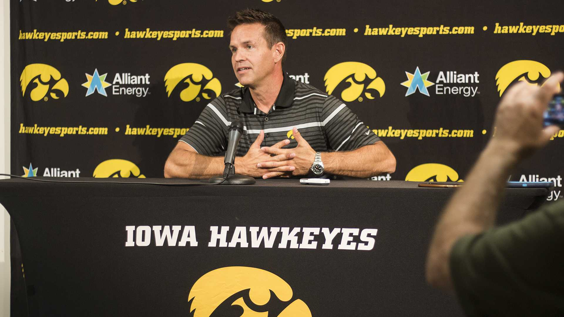 Iowa head coach Bond Shymansky speaks with members of the media during volleyball media day in Carver-Hawkeye Arena on Friday, Aug. 18, 2017.  The volleyball team will host their Black & Gold scrimmage tomorrow at 2 p.m. in Carver, which will be free to the public. (Joseph Cress/The Daily Iowan)