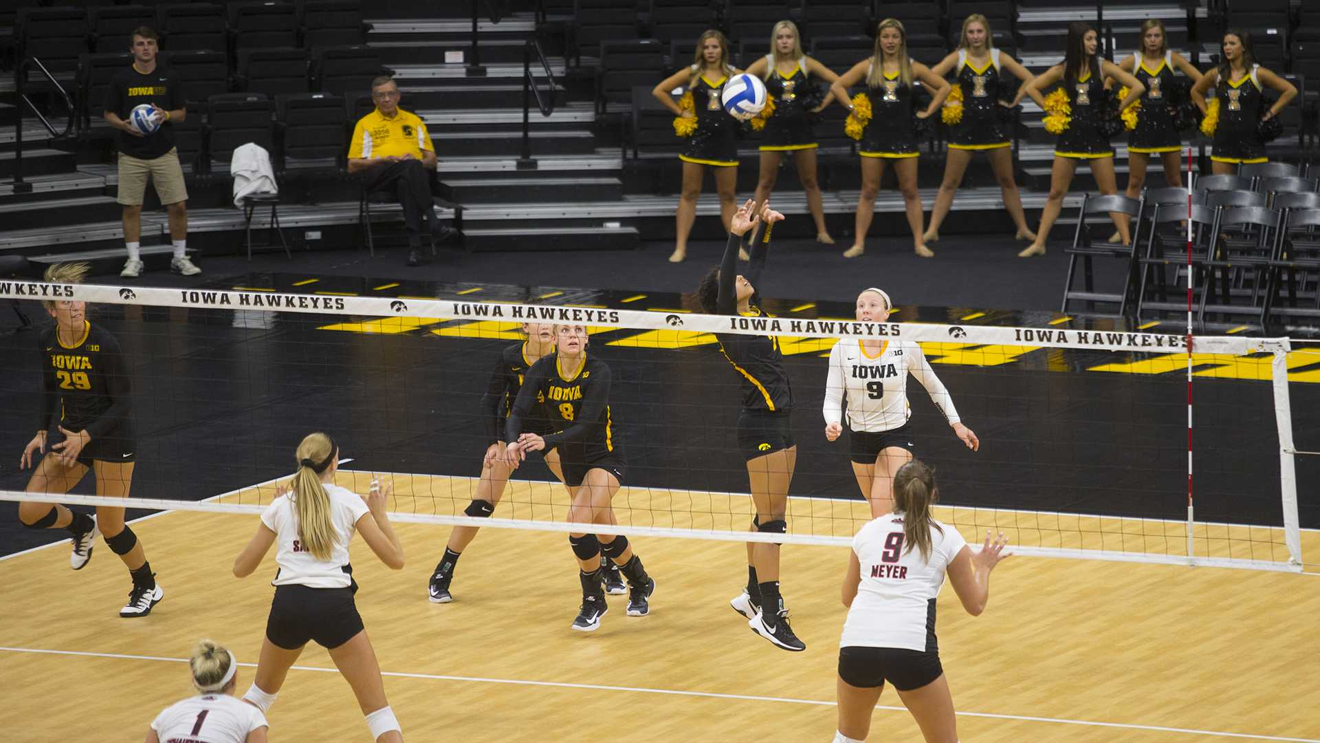 Iowa's Brie Orr sets the ball during a volleyball match against University of Nebraska-Omaha at Carver-Hawkeye Arena on Friday, Sep. 1, 2017. The Hawkeyes swept the match against the Mavericks, 3 sets to 0. (Lily Smith/The Daily Iowan)