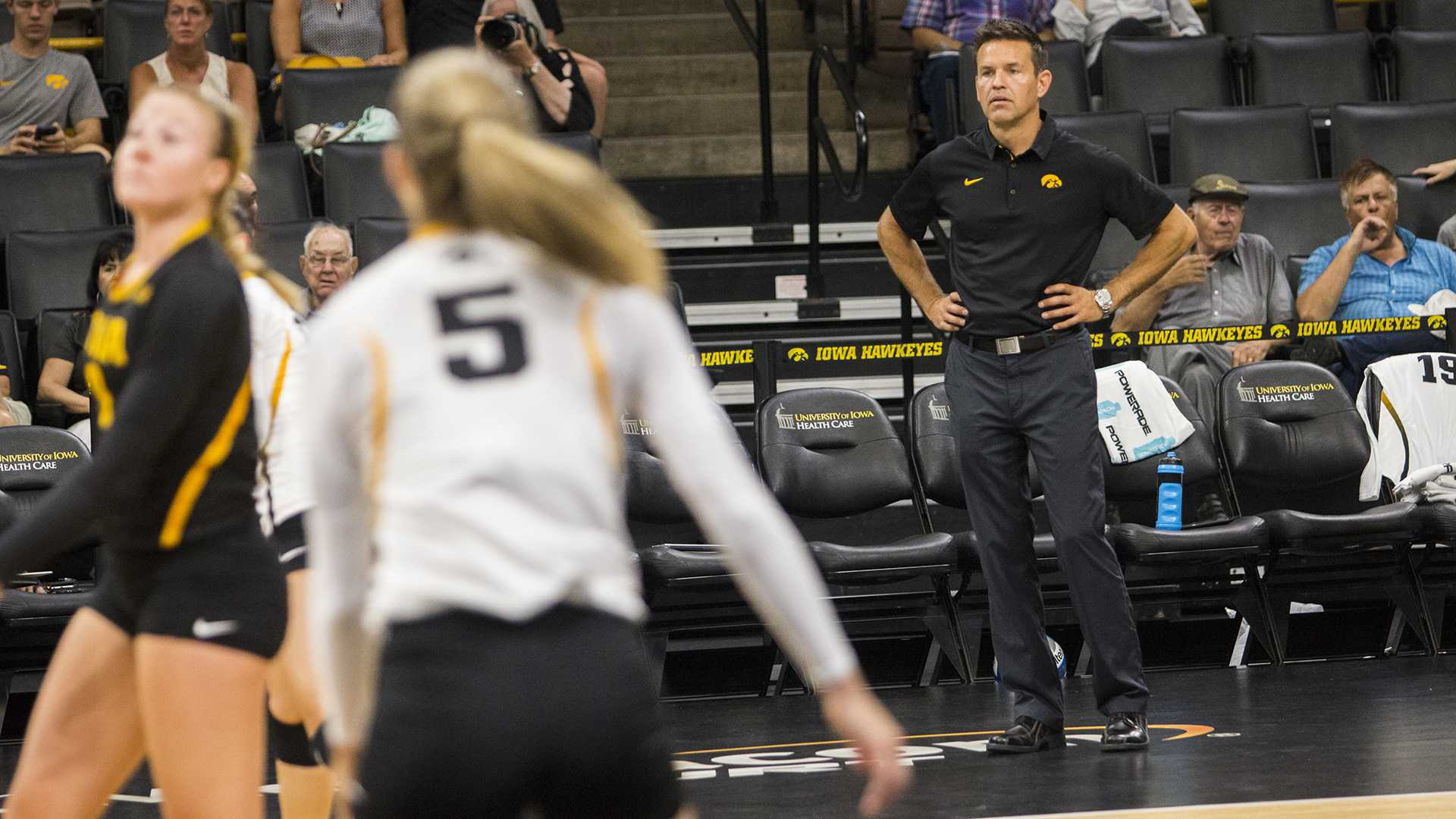 Iowa head coach Bond Shymansky watches players during the volleyball Black & Gold scrimmage in Carver-Hawkeye Arena on Saturday, Aug. 19, 2017. The Hawkeyes will host their first home game against Nebraska-Omaha at noon on Sept. 1 to kick off the four game Hawkeye Classic. (Joseph Cress/The Daily Iowan)