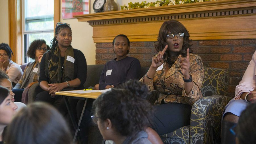 UI Vice President for Student Life Melissa Shivers speaks during the Womxn of Color Welcome Mixer at the Womens Resource and Action Center on Wednesday, Sep. 6, 2017. It was the inaugural event for the Womxn of Color Network Series, and will feature a monthly program on a topic affecting womxn of color. (Lily Smith/The Daily Iowan)