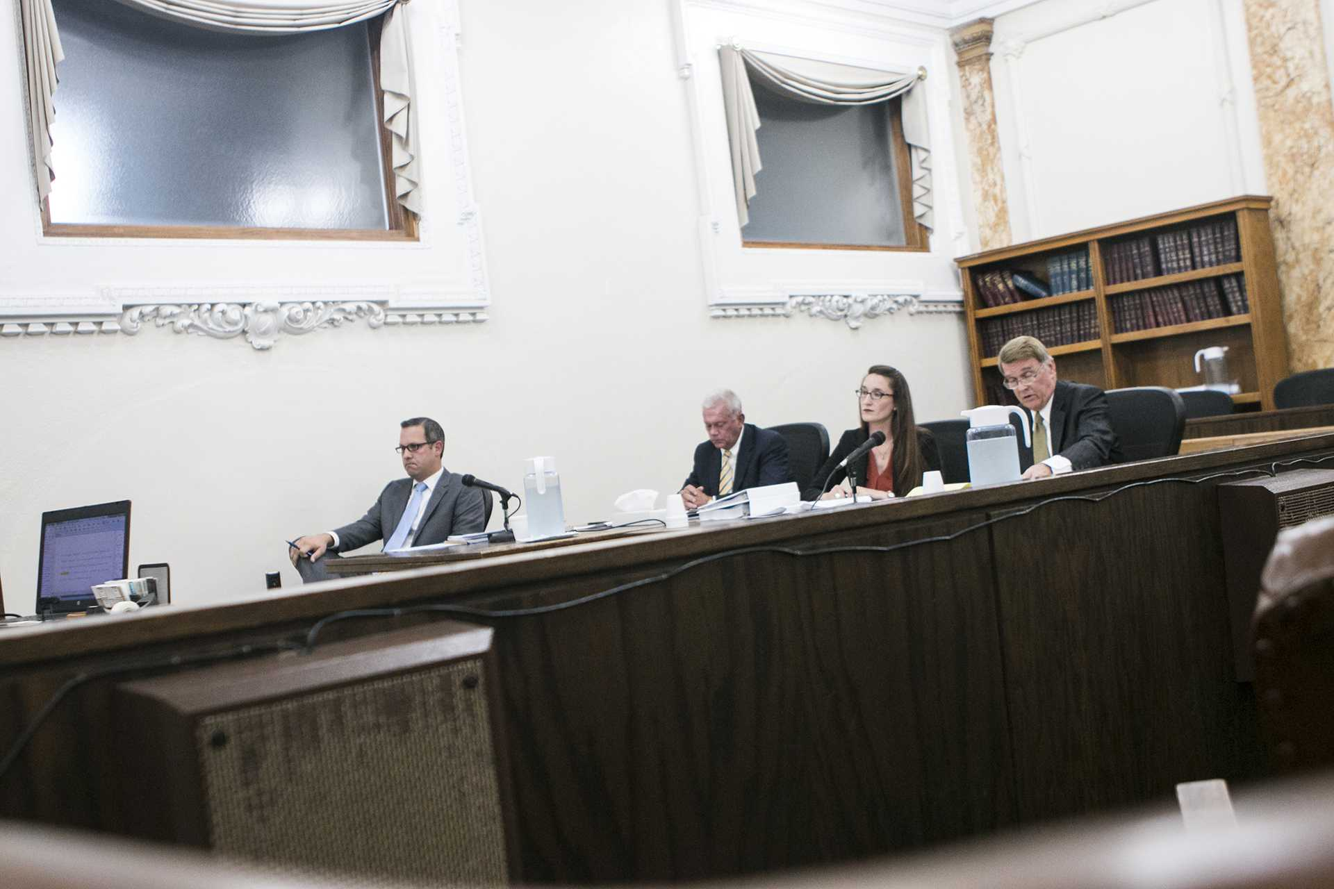 Defendants' attorney Richard Sapp (right) speaks during a hearing in the Polk County courthouse in Des Moines on Friday, Oct. 6, 2017. The plaintiff, former UI employee Gerhild Krapf, filed the civil suit in May 2016, alleging the regents violated Iowa Open Meetings Law by meeting privately with UI President Bruce Harreld in July 2015 prior to his hiring. (Joseph Cress/The Daily Iowan)