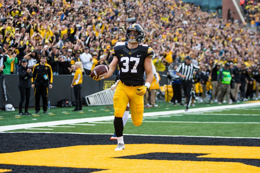 Iowa defensive back Brandon Snyder crosses the goal line after returning an interception for an 89 yard touchdown during the Iowa/Illinois football game on Saturday, 7 Oct. 2017. Iowa won the game 45-16. (David Harmantas/The Daily Iowan)
