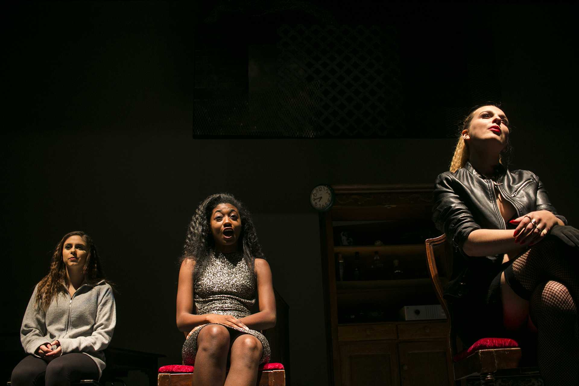 Actors perform during a dress rehearsal for Starfire in Theatre B in the Theater Building on Wednesday, Oct. 11, 2017. Starfire is free to attend for UI students, and $5 for the general public. (Joseph Cress/The Daily Iowan)