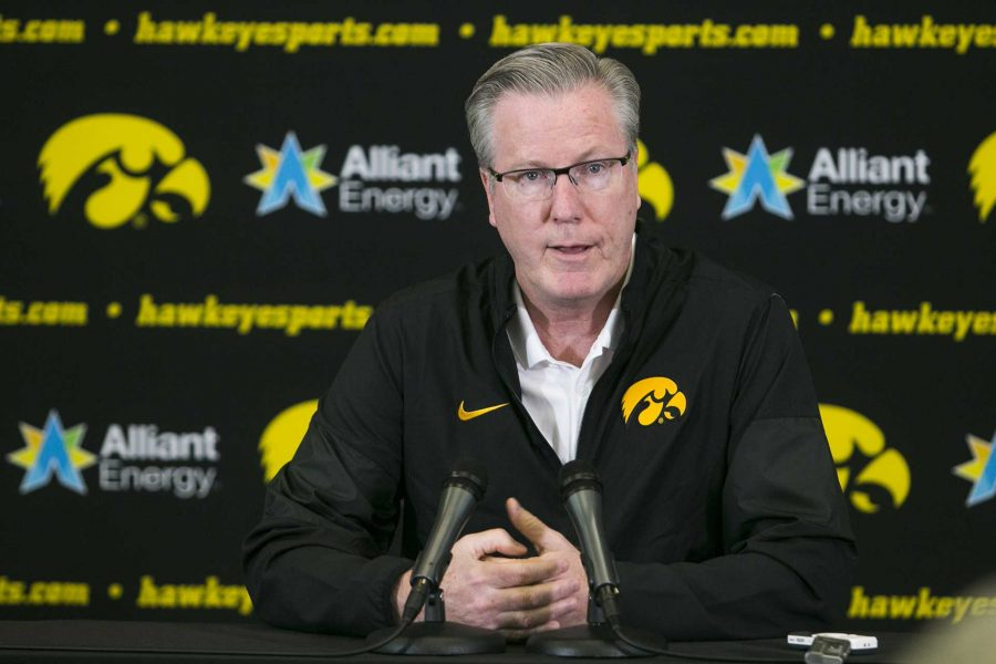 Iowa head coach Fran McCaffery speaks during men