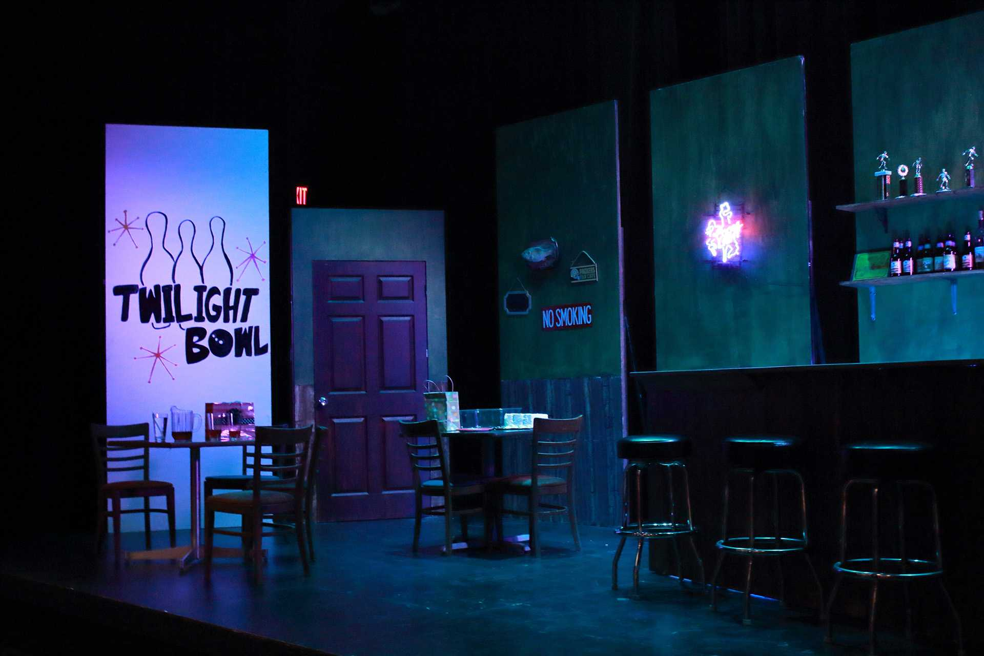 A scene set up in a dress rehearsal at the Theatre Building on Wednesday, Oct. 18, 2017. The Twilight Bowl will be preformed on Friday and is about young women making tough decisions. (Ashley Morris/The Daily Iowan)