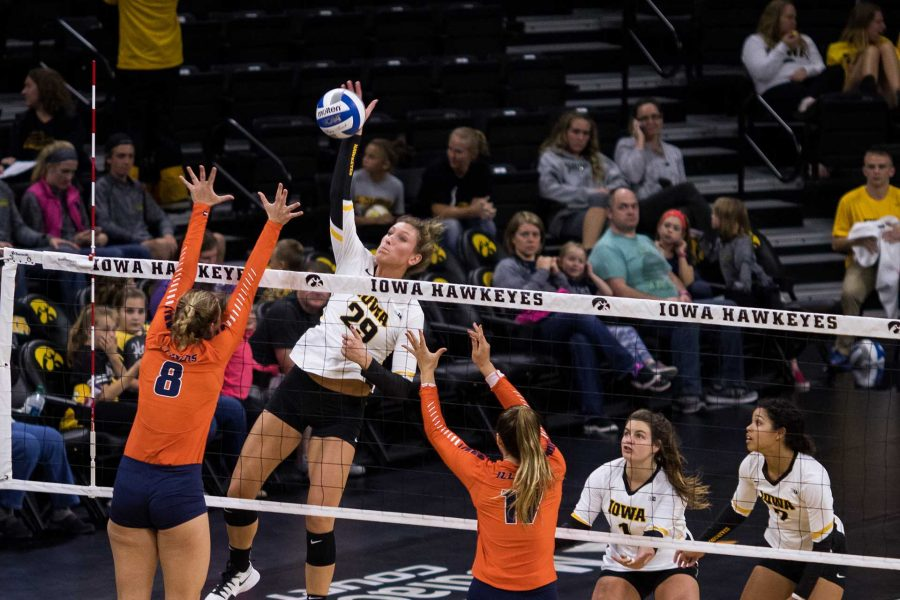 Iowa+Hawkeye+Volleyball+player+Jess+Janota+spikes+the+ball+during+a+match+against+the+University+of+Illinois+Fighting+Illini+on+Friday%2C+Oct.+19%2C+2017.+The+Illini+defeated+the+Hawkeyes+three+sets+to+two.+%28David+Harmantas%2FThe+Daily+Iowan%29