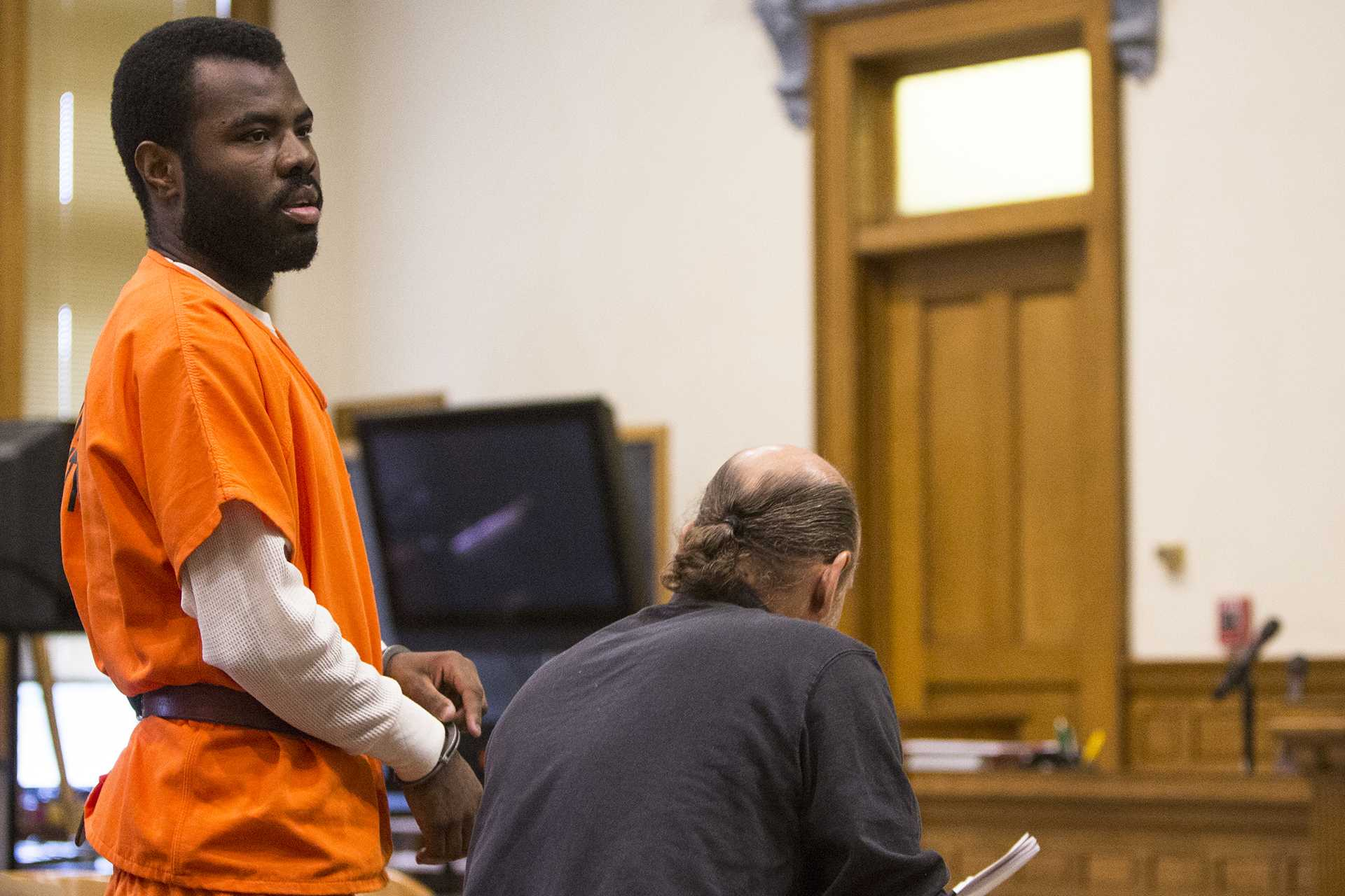 "Lamar Wilson of Iowa City leaves the court room during a case management hearing for State of Iowa v. Lamar Wilson in the Johnson County courthouse on Friday, Oct. 27, 2017. Wilson's lawyers asked the judge to dismiss charges against him using Iowa's ""stand your ground"" law. (Joseph Cress/The Daily Iowan)"