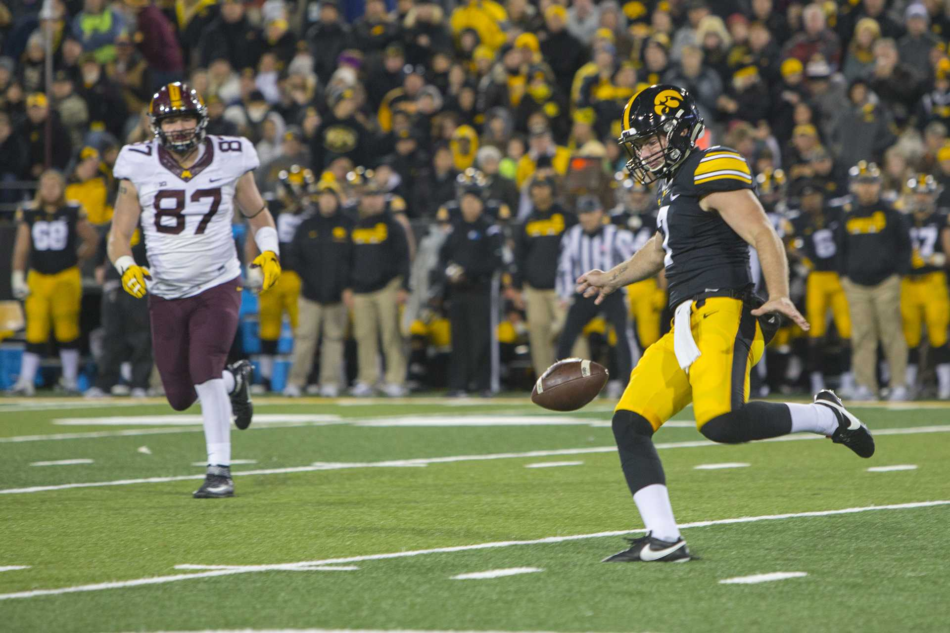 Iowa's Colten Rastetter punts during the Iowa/Minnesota football game at Kinnick Stadium on Saturday, Oct. 28, 2017. The Hawkeyes defeated the Golden Gophers, 17-10, to keep the Floyd of Rosedale trophy.