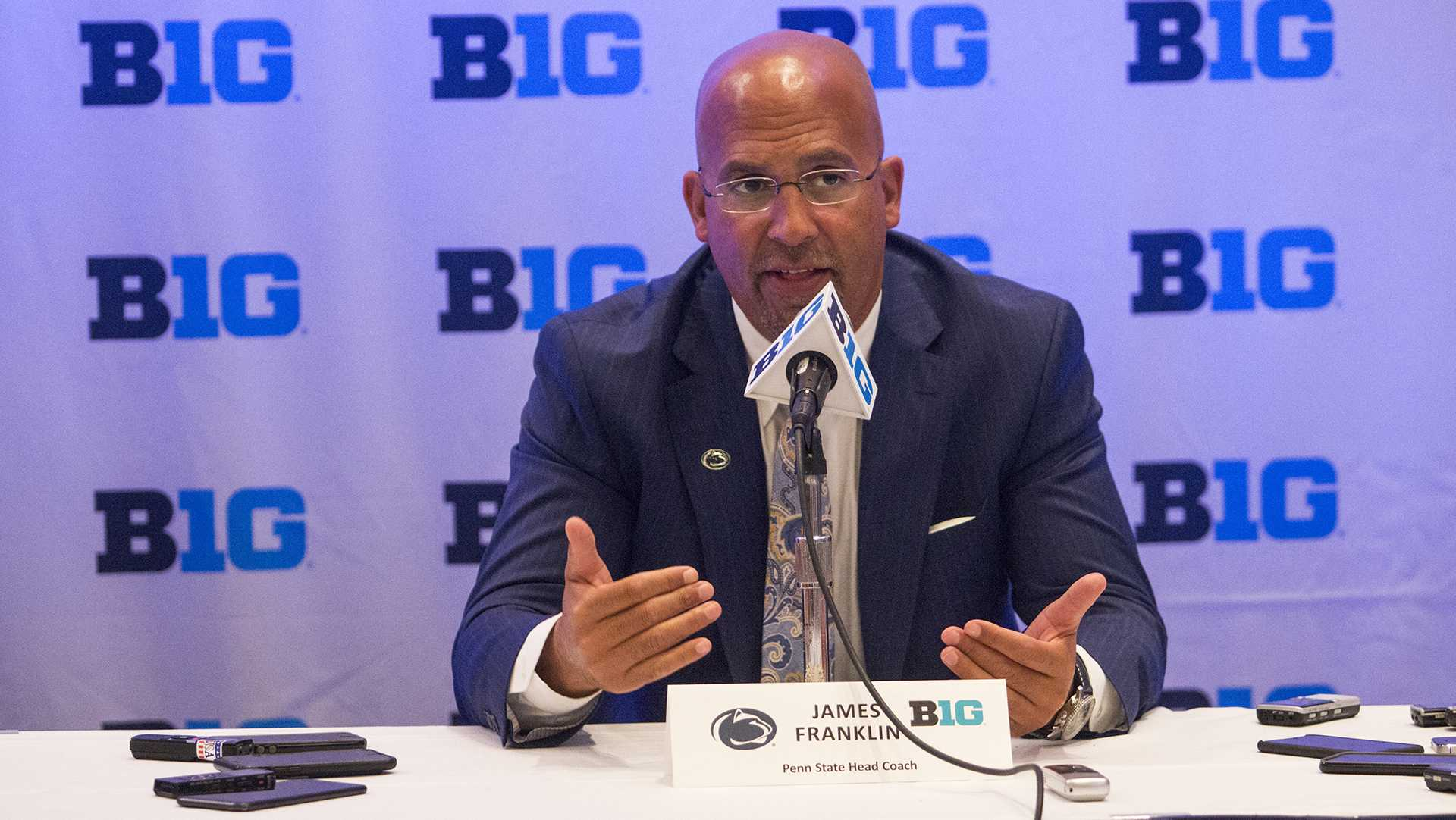 Penn State coach James Franklin speaks with members of the media during the Big Ten Media Days at McCormick Place Convention Center in Chicago on Tuesday, July 25, 2017. (Joseph Cress/The Daily Iowan)