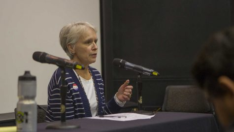 Iowa City City Council District B candidate Susan Mims speaks during the UISG City Council Forum in the IMU on Wednesday, Oct. 18, 2017. The event gave students and community members the opportunity to ask city council candidates about the issues. (Lily Smith/The Daily Iowan)