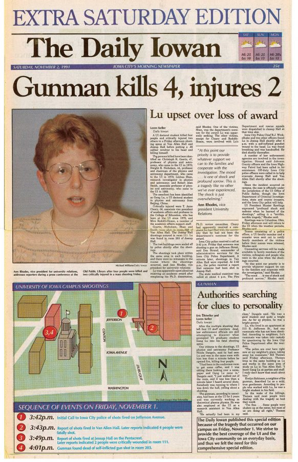 The Daily Iowan front page on Nov. 2, 1991.