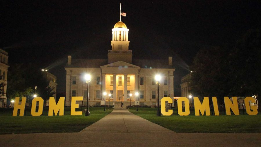 Homecoming letters are seen on the Pentacrest on Monday, Oct. 2, 2017. (Ashley Morris/The Daily Iowan)