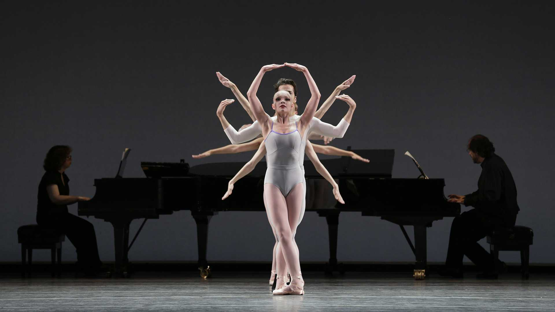 Lydia Wellington in front Pianos: Elaine Chelton and Alan Moverman In Creases; Choreography by Justin Peck; New York City Ballet/World Premiere Credit Photo: Paul Kolnik