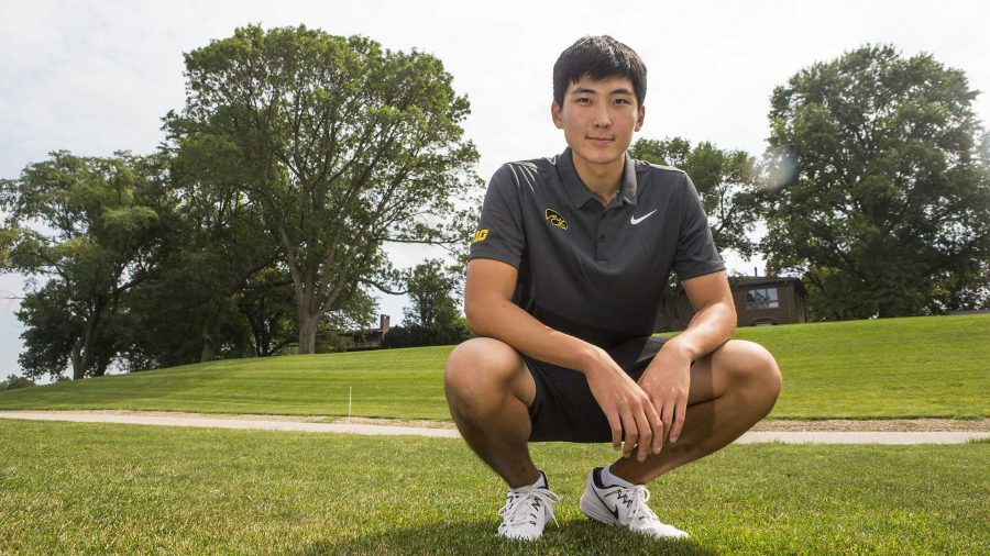 Iowa golfer Jaewook Lee poses for a portrait during a mens golf practice on Thursday, Aug. 31, 2017. (Joseph Cress/The Daily Iowan)