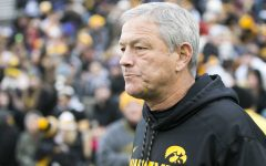 Iowa head coach Kirk Ferentz walks into the stadium before an Iowa/Minnesota football game in Kinnick Stadium on Saturday, Oct. 28, 2017. The Hawkeyes defeated the Golden Gophers, 17-10.