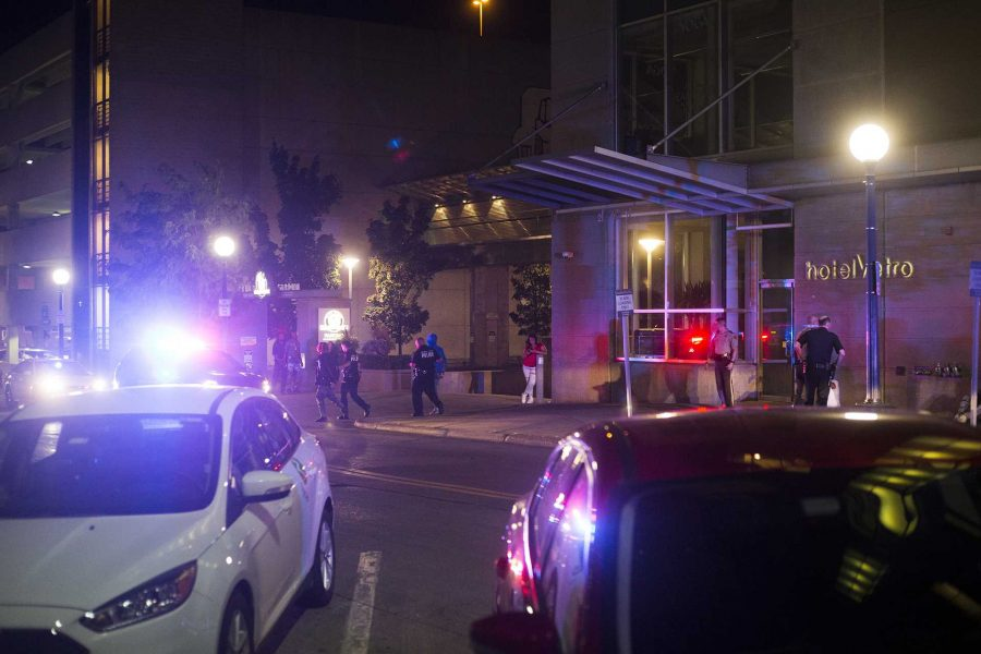 Police respond to a call of shots fired on the Ped Mall on Aug. 27. An initial call came in around 1:30 a.m. where officers immediately responded. (Joseph Cress/The Daily Iowan)