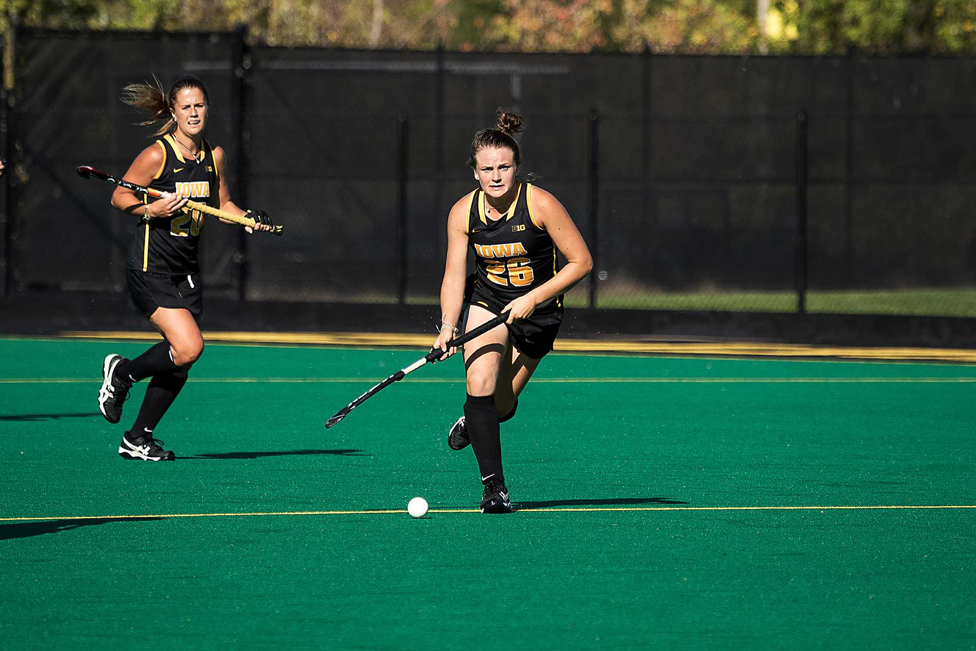 Maddy Murphy looks upfield during a match against the University of Indiana Field Hockey team on Friday, 29 Sept., 2017. Iowa won the match 4-3. (David Harmantas/The Daily Iowan)