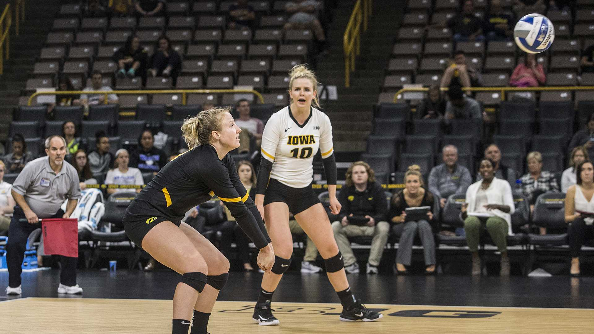 Iowa's Annika Olsen plays the ball during a match at Carver-Hawkeye Arena on Wednesday, Oct. 4, 2017. Iowa defeated Michigan 3 sets to 1. (Nick Rohlman/The Daily Iowan)