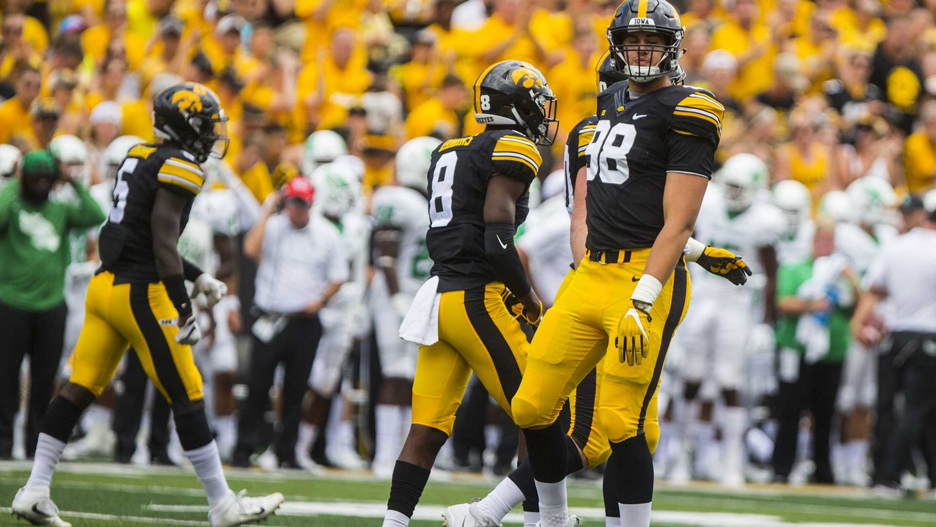 Iowa defensive end Anthony Nelson celebrates during the game between Iowa and North Texas at Kinnick Stadium on Saturday, Sept. 16, 2017. The Hawkeyes went on to defeat the Mean Green 31-14. (Ben Smith/The Daily Iowan)