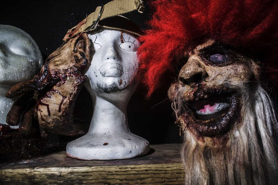 Halloween masks as seen on display at the Factory of Fears dressing room in Moline, Illinois on Sunday, Oct. 29, 2017. The Factory of Fear enjoys operating in a old toy factory and has access for full wardrobe and makeup services for their actors.