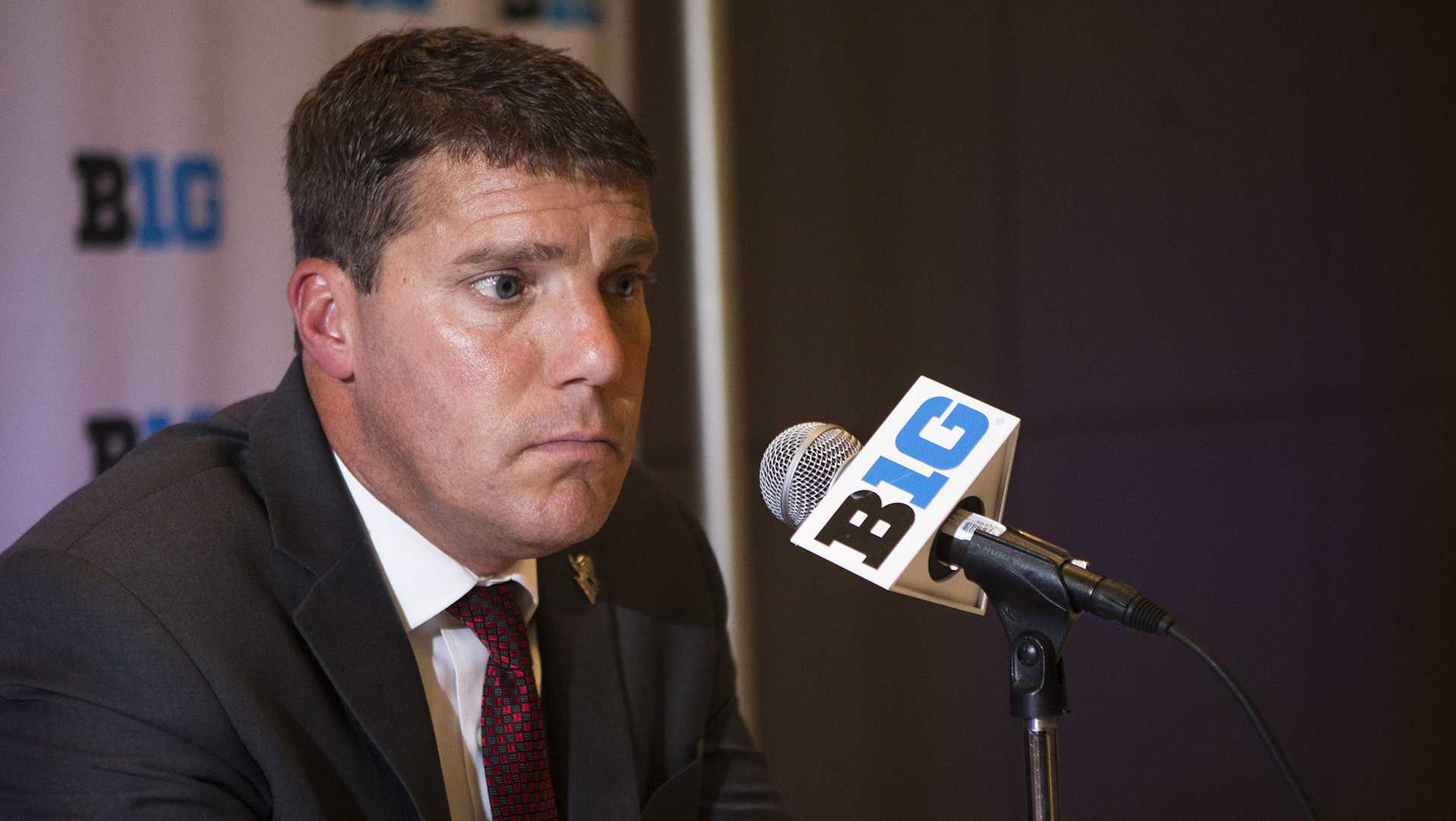 Rutgers head coach Chris Ash speaks with members of the media during the Big Ten Media Days at McCormick Place Convention Center in Chicago on Tuesday, July 25, 2017. (Joseph Cress/The Daily Iowan)
