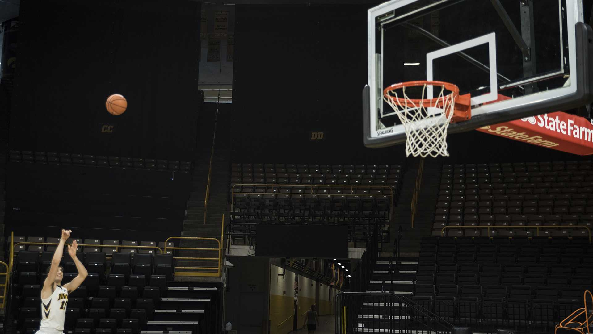 Iowa forward Connor McCaffery practices his shot during Iowa Mens' Basketball Media Day at Carver-Hawkeye Arena on Monday, Oct. 16. (Ben Smith/The Daily Iowan)