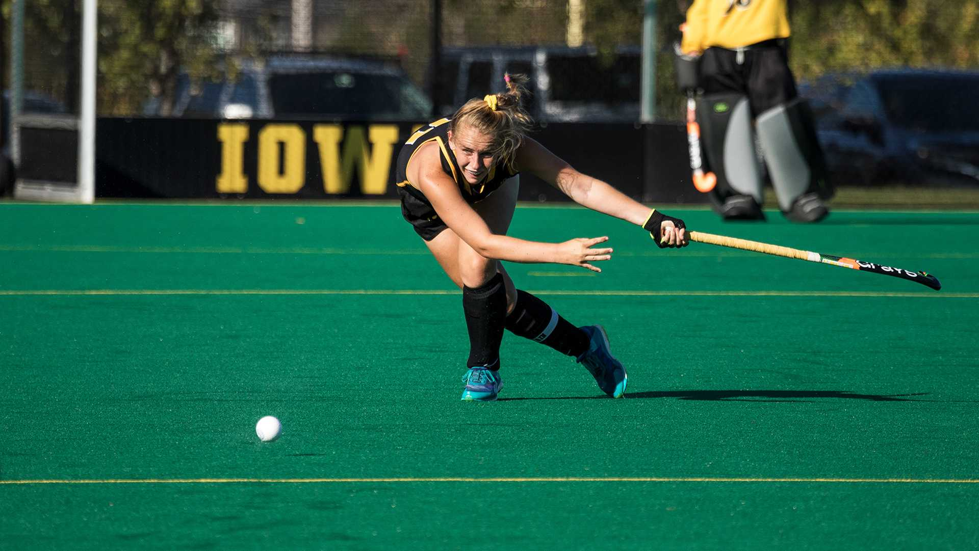 Iowa's Katie Birch passes the ball during a match against the University of Indiana field hockey team on Friday, Sept. 29, 2017. Iowa won the match 4-3. (David Harmantas/The Daily Iowan)