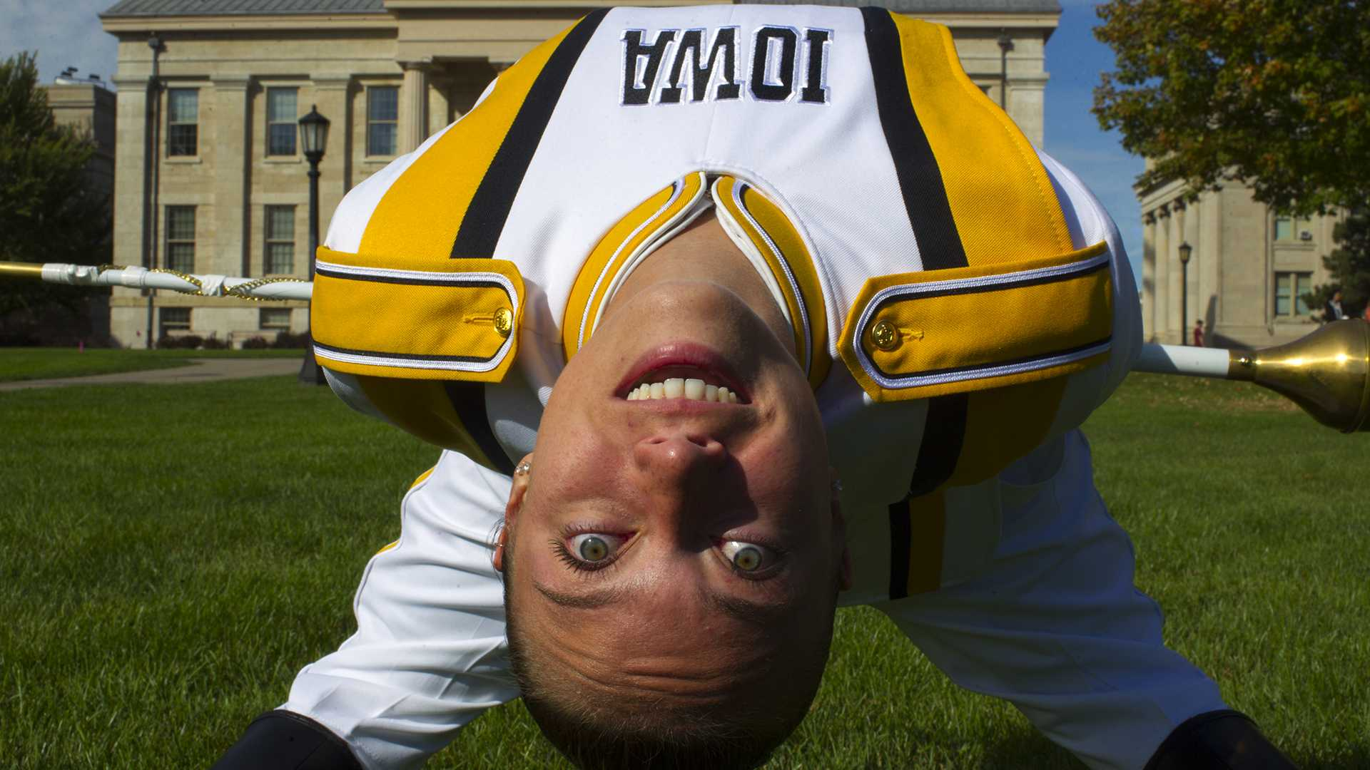 UI senior Analisa Iole leans for a portrait on Saturday, Sept. 30, 2017. Iole is the Hawkeye Marching Band's first female drum major. (Lily Smith/The Daily Iowan)