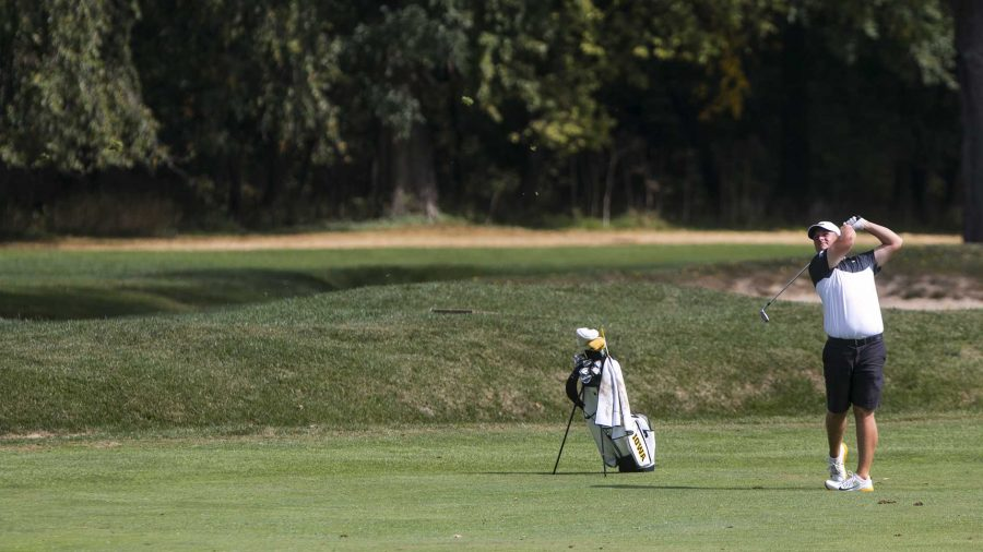 Iowas Alex Schaake swings during a tournament at the Donald Ross Course at the Cedar Rapids Country Club in Cedar Rapids on Tuesday, Sept. 19, 2017. (Joseph Cress/The Daily Iowan)
