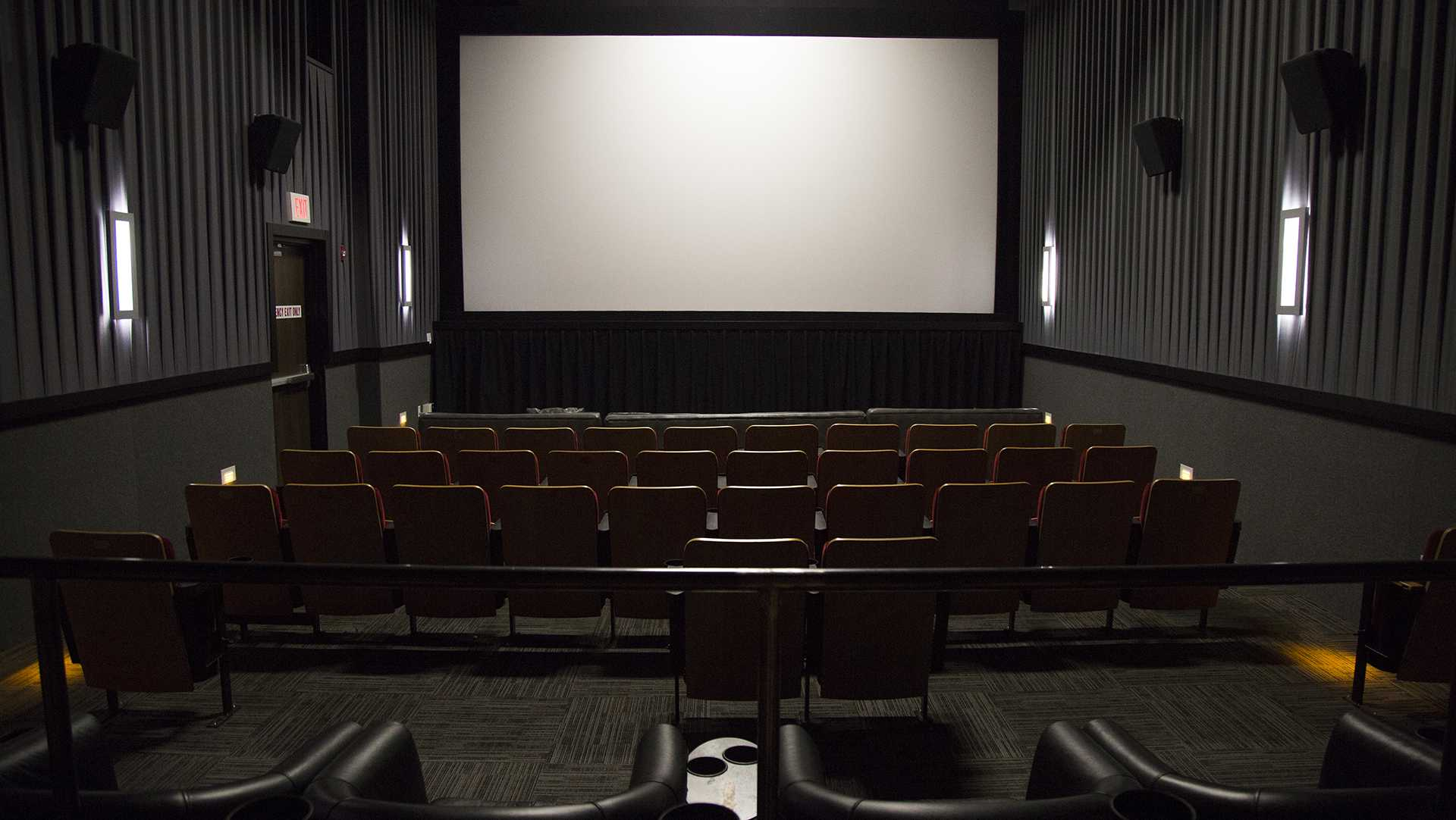 The FilmScene theater screen is shown Dec. 10, 2015. (The Daily Iowan/file)