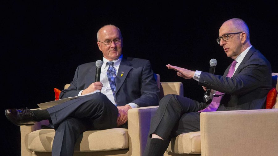 David Skorton (right) answers a question from UI Graduate College dean John Keller during An Evening with David Skorton at Hancher Auditorium on Thursday, Mar. 30, 2017.  (The Daily Iowan/Lily Smith)
