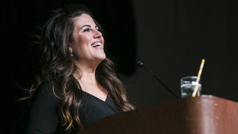 Monica Lewinsky speaks in the IMU on Tuesday, Oct. 24, 2017. Lewinsky said this was her first time visiting Iowa. (Joseph Cress/The Daily Iowan)