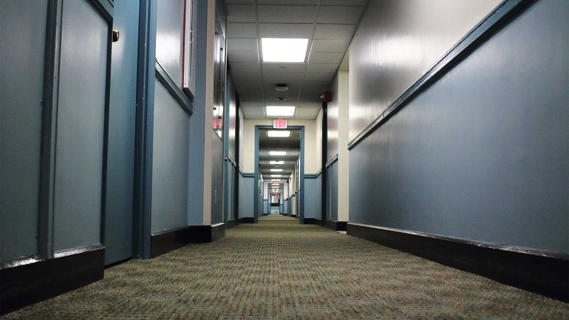 A Hillcrest Residence Hall hallway is seen on Tuesday, Oct. 3, 2017.