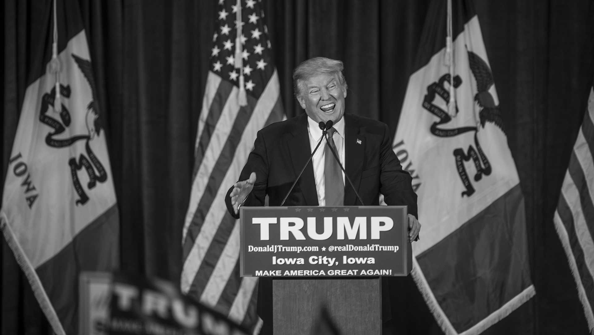 FILE - Donald Trump speaks to a crowd at the University of Iowa Field house on Tuesday, Jan. 26, 2016. Trump is currently tied in Iowa with Ted Cruz. (The Daily Iowan/file)