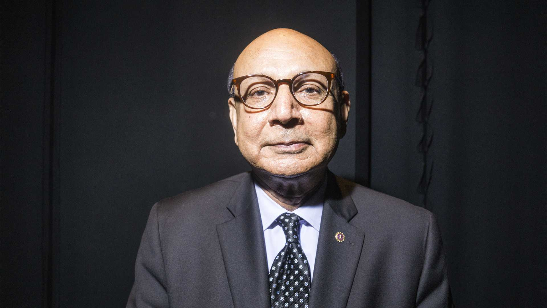Khizr Khan poses for a portrait immediately after his speech at The Englert Theater on Monday, Oct. 2, 2017. When asked Khan stated that his most meaningful parts of the Bill of Rights, to him, were the 1st Amendment and Section 1 of the 14th Amendment. (James Year/The Daily Iowan)