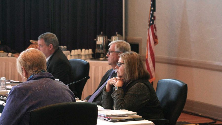 Regent President Mike Richards and Regent President Pro Tem Patricia Cownie listen to a presentation during the regents meeting at the University of Northern Iowa in Cedar Falls on Thursday, Oct. 19, 2017.  The regents heard reports on institutional strategic plans and appointed a new executive director.