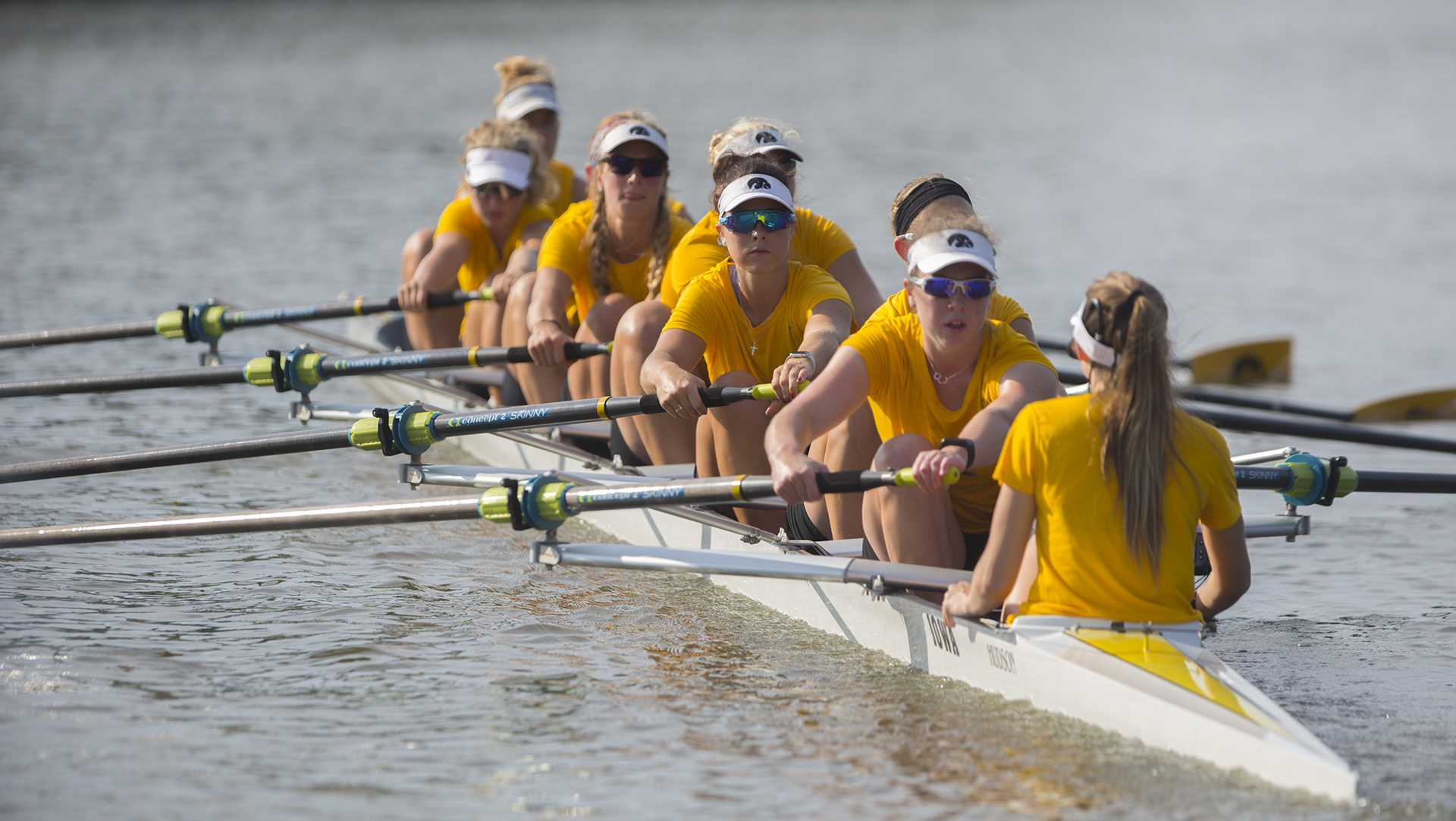 Iowa's rowing team practices on the Iowa River on Friday, Sept. 15, 2017.
