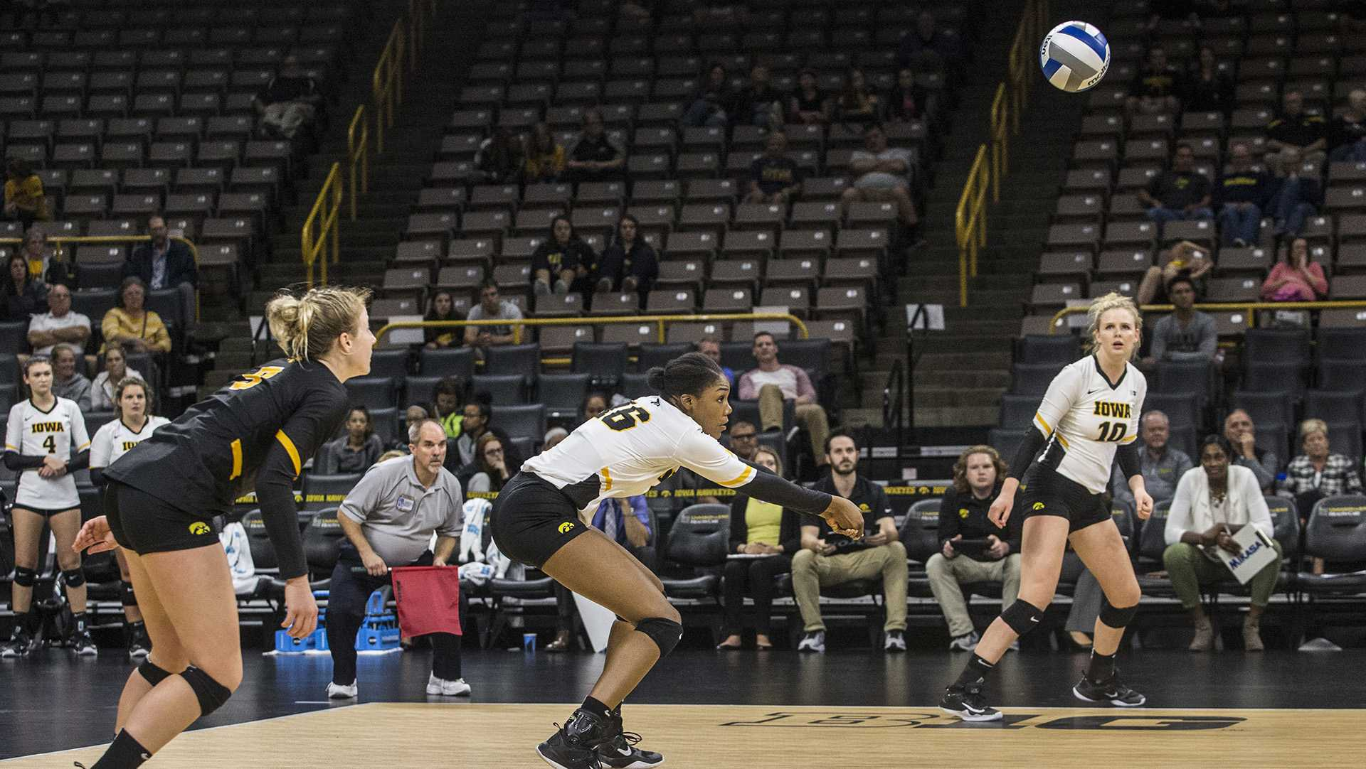 Iowa's Taylor Louis plays the ball during a volleyball match at Carver-Hawkeye Arena on Wednesday, Oct. 4, 2017. Iowa defeated Michigan 3 sets to 1. (Nick Rohlman/The Daily Iowan)